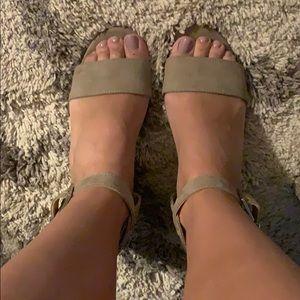 Unisa taupe block heels